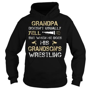 Grandpa Doesn't Usually Yell His Grandsons Wrestling Shirt Hoodie