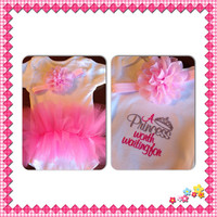 A princess worth waiting for tutu booty one piece bodysuit surprise matching headband included great baby shower gift