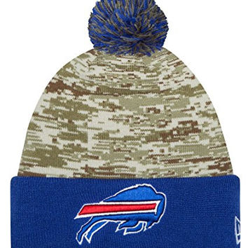 Men's Detroit Lions New Era Camo/Blue 2015 Salute to Service On Field Cuffed Knit Hat