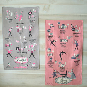 NOS 1950s Funny Kitchen Towel, Pat Prichard Day of the Week Menu Tea Towel, Funny Kitchen Decor
