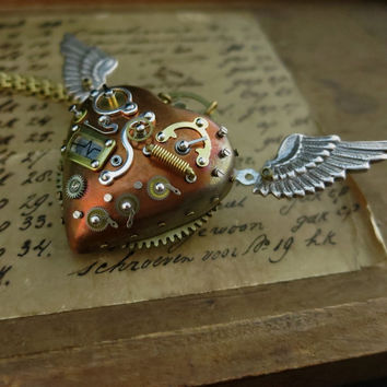 Steampunk pendant, Steam punk jewelry, Mechanical flying heart, Industrial style, Steampunk costume gift, Watch gears parts pendant