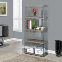 "Dark Taupe Reclaimed-Look/Tempered Glass 60""H Bookcase"