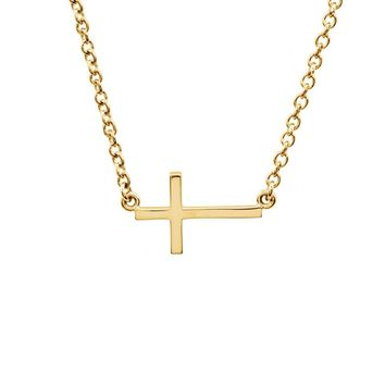 17mm Polished Sideways Cross Adjustable 14k Yellow Gold Necklace