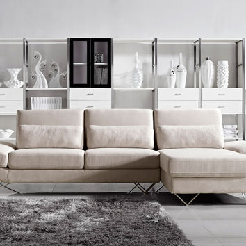Divani Casa Yorba - Modern Fabric Sectional Sofa Set