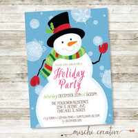 "Wintery Christmas Snowman Holiday Party Digital Printable Invitation - Traditional Greens and Reds - 5"" x 7"""