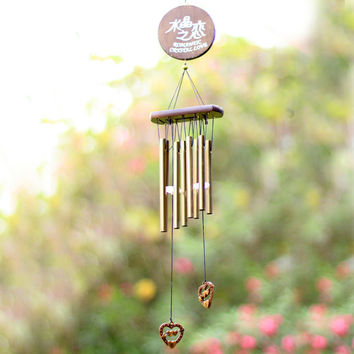Crystal Love Wind Chimes Mascot Luck Outdoor Living Yard Garden Tubes Bells Copper Birthday Gift Home Decor Ornament Crafts