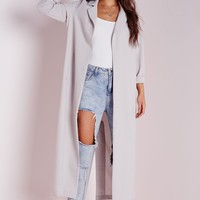 Missguided - Long Sleeve Maxi Duster Coat Grey
