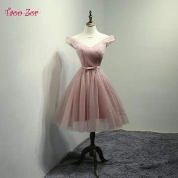TaooZor 2018 Hot Sale Pleat Tulle Short Modest Cheap Cute Bow Sashes Champagne Pink Red Gray Homecoming Dresses Real Sample