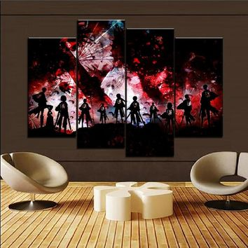 Cool Attack on Titan Large Canvas Painting 4 Piece  Main Anime Role Picture For Living Room Home Wall Decorative Framework Artwork AT_90_11