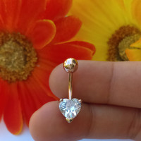 14g Rose Gold Brilliant Heart Plated over Surgical Steel Belly Ring Jewelry for Navel Piercing
