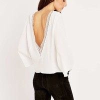 Pins & Needles Lace Insert Angel Sleeve Top - Urban Outfitters