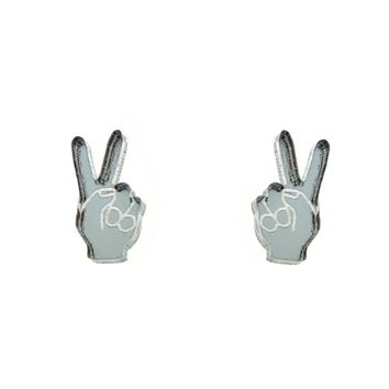 Peace Hand Sign Earrings in Mirror Silver