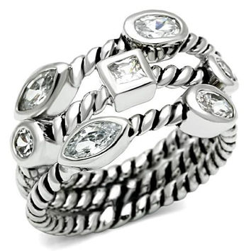 Metro Stacked Silver 3TCW Russian Lab Diamond Anniversary Ring