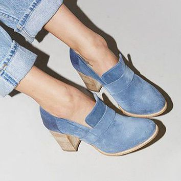 Chicloth Casual Suede Chunky Heel Slip-On Boots