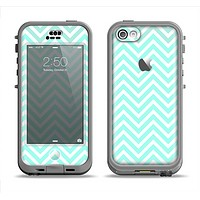 The Light Teal & White Sharp Chevron Apple iPhone 5c LifeProof Nuud Case Skin Set