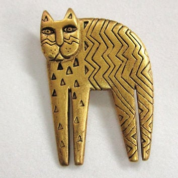 Vintage Laurel Burch Standing  Cat Pin Brooch Matte  Gold Tone