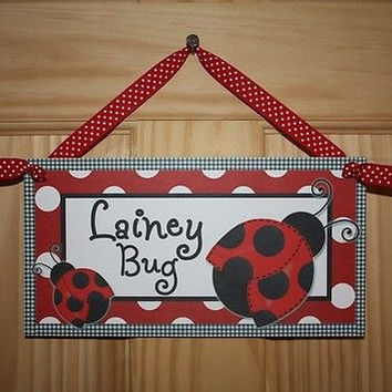 Kids Door Sign Little Red Ladybug Bedroom Nursery Personalized Name Sign DS0139