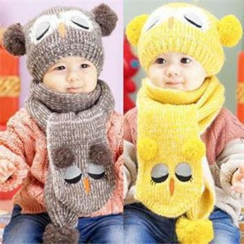VONEGQ Winter Warm Baby Boys Girls Hat Scarf Set Cute Knitted Cotton Hats for Toddlers Cartoon Owl Hats For 1 to 4 Years