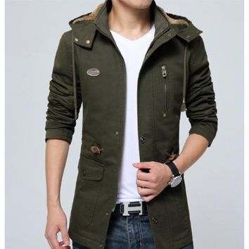 Mens Army Green Military Style Hooded Trench Coat