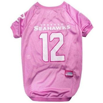 LMFONK Seattle Seahawks '12th Man' Pink Pet Jersey