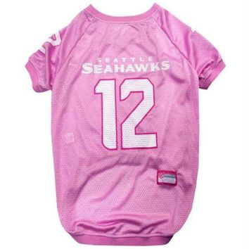 VONE05G Seattle Seahawks '12th Man' Pink Pet Jersey