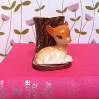 Cute, Hornsea deer figurine posy vase!! Absolutely adorable vintage English fine china fawn!