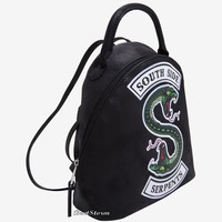 Licensed cool Riverdale South Side Serpents Black Suede Mini Backpack Hot Topic Exclusive NWT