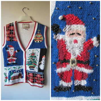 Ugly Christmas Sweater Vest! Kitschy,Tacky Festive Holiday Sweater! Hipster Style Button Up Party Sweater! w/ Trees, Snowman, Santa & Plaid!