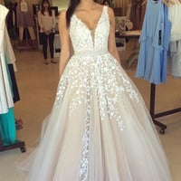 V-Neck Prom Dresses,White Applique Prom Dress,Evening Dresses