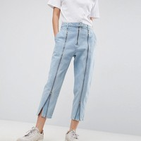 ASOS WHITE Ovoid Jean With Zip Detail In Bleach Wash at asos.com