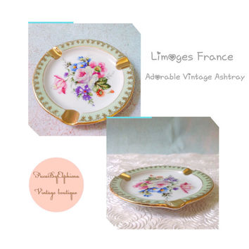 Vintage Limoges French Porcelain Ashtray / Collectible / Flowers/ Vintage French Decor