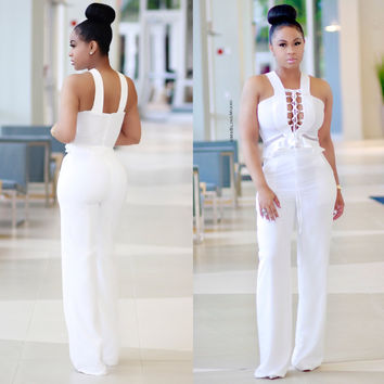 Plain Color Lace-up Bust Sleeveless Jumpsuit