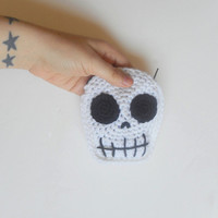 White Skull Coin Purse Wallet with Black Velvet Lining and Zip Closure, ready to ship.
