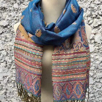 Elephant Paisleys Boho Pashmina Scarf Shawl Wrap Gypsy Multicolored Stripe Borders Scarf Soft Muffler Bohemian Fashion Gift for her blue