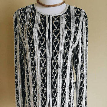 Vintage 80s Black and White striped Laurance Kazar sequin jacket