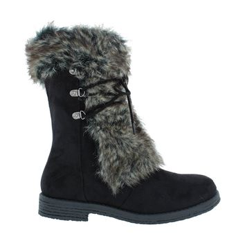 Faux Fur Lace Up Boot (BLACK)