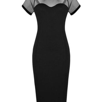 Mesh See Through Patchwork Black Knee Length Elegant Office Lady Work Dress 2016 Women Clothing Summer New Arrival Crepe