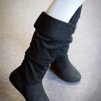 Chiara-26 Black Slouchy Mid Calf Flat Boot - Shoes 4 U Las Vegas