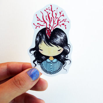 Little Headache Sticker - Hand cut girl drawing