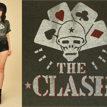 RARE Vintage 1982 The CLASH T-Shirt // Combat Rock Death Dealer Cards Print // Threadbare Super Soft 80's Punk Rock Tee // XL