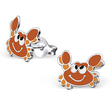 .925 Sterling Silver Hypoallergenic Cartoon Crab Earrings for Girls (Nickel Free) --With Gift Box --
