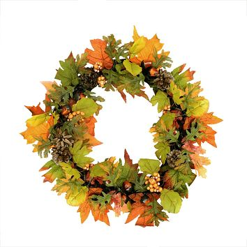 "20"" Autumn Harvest Maple Leaf Berry Pine Cone and Acorn Artificial Thanksgiving Wreath - Unlit"