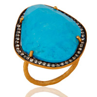 Designer Matrix Turquoise Gemstone 24K Yellow Gold Vermeil Sterling Silver Ring