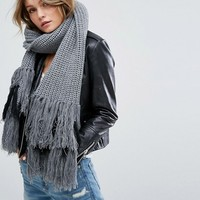 Glamorous Fringe Detail Knitted Scarf in Gray at asos.com