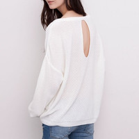 White Keyhole Back Knitted Sweater
