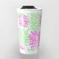 pink and green flowers Travel Mug by Sylvia Cook Photography