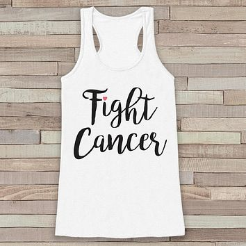 Women's Fight Cancer Tank - Cancer Awareness Tank - White Tank Top - White Racerback Tank Top - Running Race Team Tanks - Fight Cancer Shirt