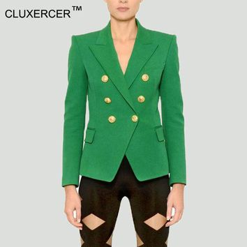 ICIKHY9 Blazer jacket suits Women Slim Blaser Double Breasted Notched Design Green Blazer Feminino Jacket Female Suit Women Work Wear