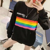"""""""Burberry""""Women Casual All-match Fashion Letter Logo Round Neck  Rainbow Long Sleeve Sweater Tops"""
