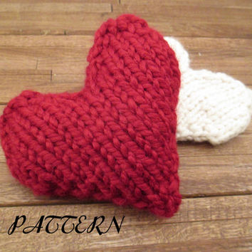Knit Heart Instand PDF Download Pattern - Knit in the Round - Valentine's Day Heart - Tiny Pillow Pattern - How to Knit a Heart